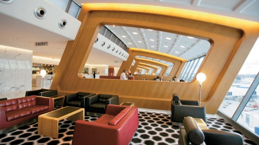 The Qantas first class lounge at Sydney Airport.