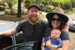 Ben Groundwater, partner Jess and baby Angus.