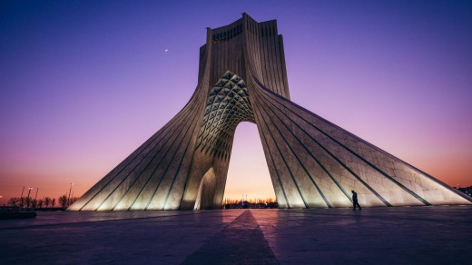 Azadi Tower at dusk, Tehran.