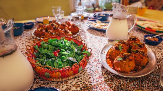 Koofteh (Persian meatballs) and doogh (traditional yogurt drink), served at a Persian cooking class in Tehran.