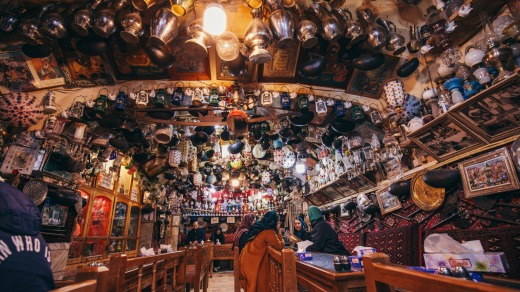Inside Azadegan Cafe, a traditional Iranian teahouse in Esfahan.