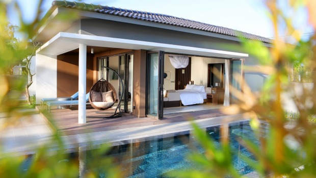 A deluxe beachfront bungalow at the Novotel Phu Quoc Resort.