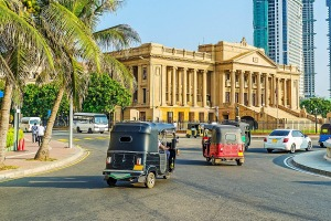 The palace of Presidential Secretariat Office on Galle Main Road, Colombo, Sri Lanka.