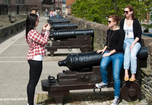 The Walls of Derry with cannons.