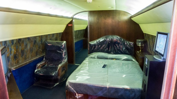 The plane features a lounge, a conference room, sitting room and a master bedroom. It's the type of aircraft that, these ...