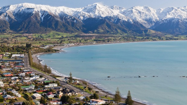 The coastal town of Kaikoura, the leading locale in New Zealand.