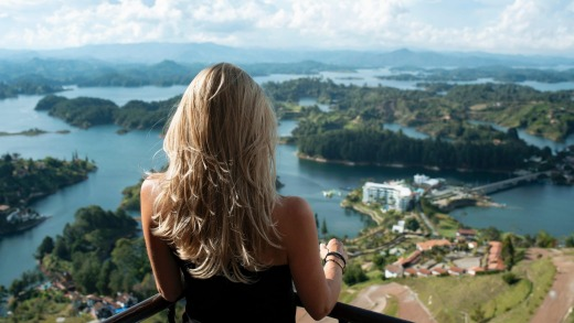 The view from the Rock of Guatape,  in the town of Guatape, on the outskirts of Medellín.