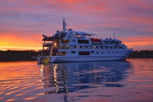 Coral Discoverer at sunset.