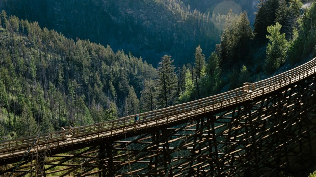 A trestle in the Myra Canyon on the Kettle Valley Rail Trail.