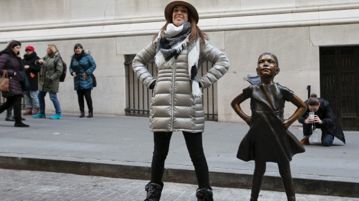 The statue has been given a permanent new home in front of the New York Stock Exchange.