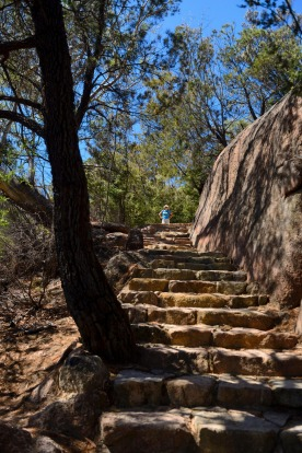 The climb to Wineglass Bay Lookout on Mount Amos.