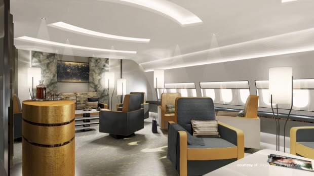 Unique Aircraft's design for a lounge on board.