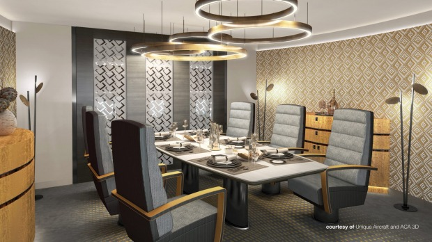 Unique Aircraft's design for a dining room on board.