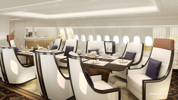 Jet Aviation's design for the dining room on board the private Boeing 777X.