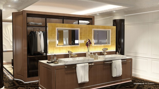 Jet Aviation's design for master bathroom on board the private Boeing 777X.