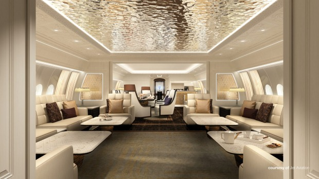 Jet Aviation's design for the Majlis, or lounge area on board the private Boeing 777X.