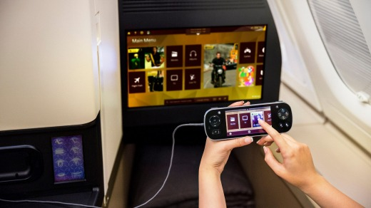 Entertainment at hand in Etihad's A380 business class.
