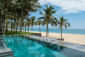 Poolside at one of the Nam Hai's pools overlooking the beach, commonly known as China Beach.