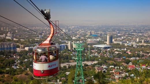 The Kok-Tobe cable car above Almaty.