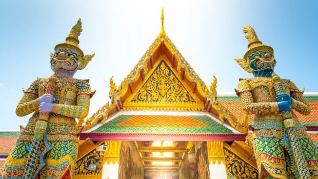 The dazzling temple compound of Wat Phra Kaeo, Bangkok, Thailand.