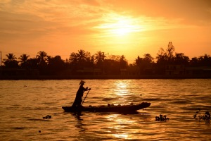 Mekong River at sunrise in Vietnam.