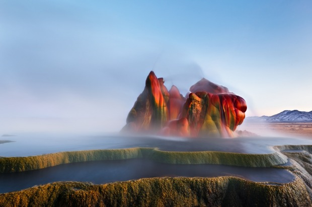 Fly Geyser near the Black Rock Desert in Nevada constantly erupts minerals and hot water creating bright colours and ...