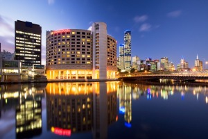 The Crowne Plaza perches on the banks of the Yarra.