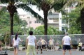 A badminton game under way in  Ho Chi Minh City.