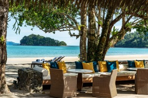 The beach bar at the legendary resort Datai Langkawi.