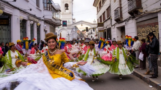 Thousands of Bolivians dress up for the annual festivity to honor the Virgin of Guadalupe.