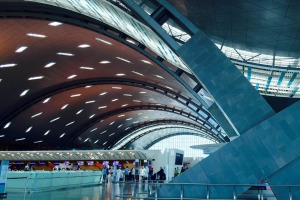 The striking, curving architecture of Hamad International Airport, in Qatar, is designed to represent ocean waves and ...