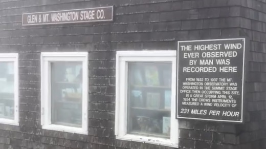 The highest wind ever observed by man was recorded here at the Mt Washington Observatory during a great storm on April ...