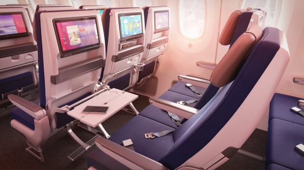 Economy seats will also receive a facelift, with bigger entertainment screens and red and blue hued seating designed to ...