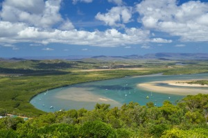 A view of the Endeavour River from Grassy Hill in Cooktown.