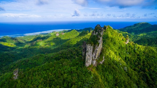 Spectacular views over the island can be enjoyed from the rocky, pointed peak of Te Rua Manga (the Needle).