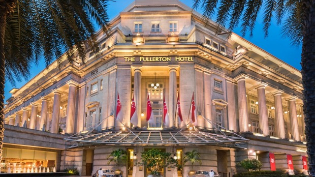 The facade of The Fullterton Hotel in Singapore. The grand building was once Singapore's general post office.