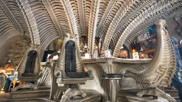 Interior of HR Giger cafe in Gruyeres, themed along the lines of his biomechanical style as shown in the Alien films.