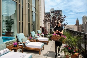 The Peninsula Chicago spa sun deck.