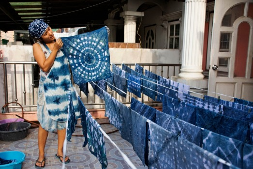 INDIGO DYEING: The leaves of the indigo plant are still used to dye clothes in Thailand, especially in north-east ...