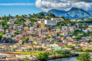 The colourful hillside houses of Fort-de-France, the capital city of Martinique.