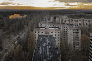 Vew from roof of 16-storied apartment house in Pripyat town, Chernobyl Nuclear Power Plant Zone of Alienation, Ukraine - ...