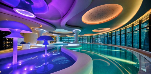 The hotel pool.