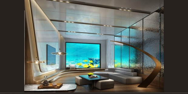 A family suite with underwater view.