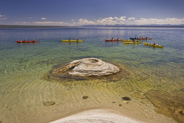 Yellowstone NP, Wyoming: In general, the geothermal wonders of Yellowstone are best admired from shore, with signs ...