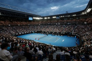 2019 men's singles semifinal match between Lucas Pouille and Novak Djokovic in Rod Laver Arena.