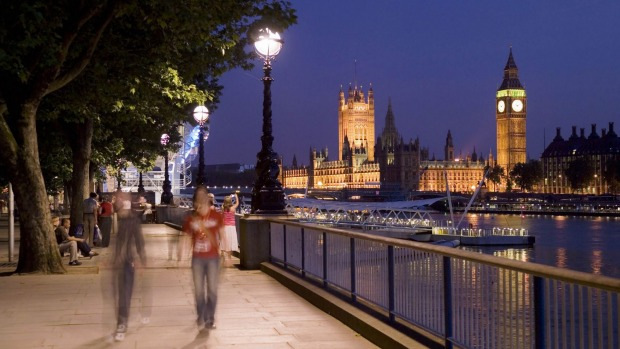 Evening view towards the Houses of Parliament from South Bank.