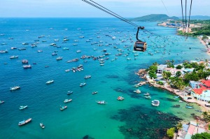 Breathtaking view from the world's largest cable car over the sea in Vietnam on the Phu Quoc Islands.