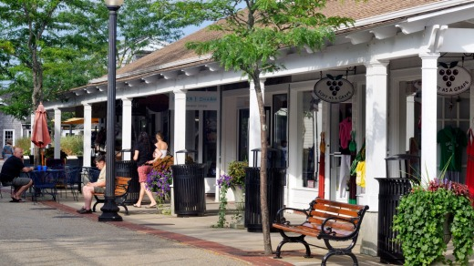 Outdoor shopping at Mashpee Commons in Mashpee, Cape Cod.