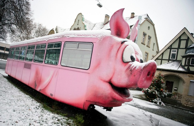 PIG MUSEUM GERMANY An administrative building for Stuttgart's former slaughterhouse now houses the world's biggest pig ...