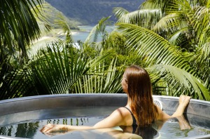 A hot tub with a view at Capella Lodge.